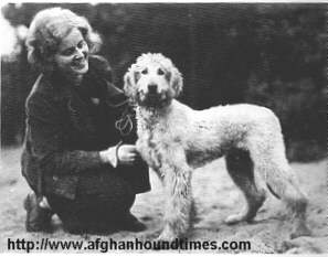 Afghan Hound Times - Mrs Jungeling with Barukhzy  Puppy c 1930