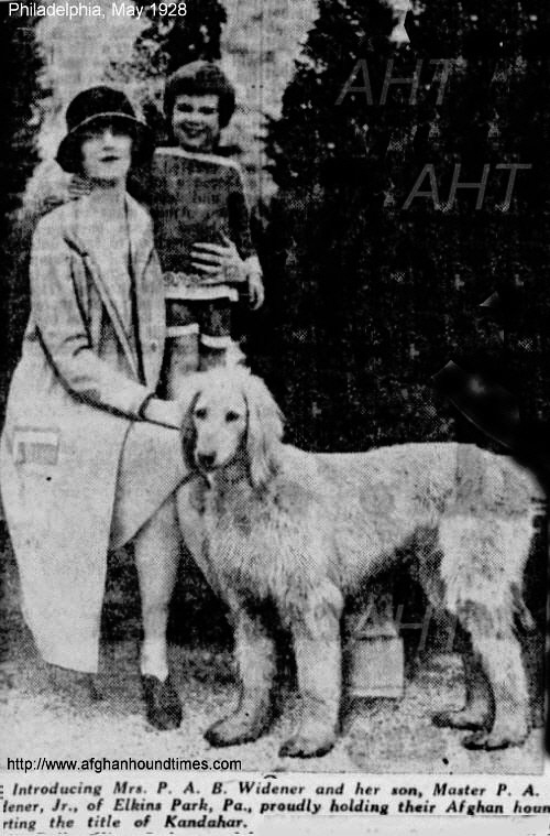 http://www.afghanhoundtimes.com Photo Kandahar and owner Mrs Widener 1928